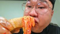 韩国大胃王小胖,试吃一整块五花肉,拿起来直接啃着吃太下饭了