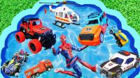 卡通玩具趣味启蒙认知:搅拌车、美国队长、钢铁侠、赛车、警车、消防车、吉普车!