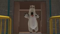 倒霉熊:倒霉熊抢先上电梯,各种嘚瑟,结果被电梯门夹鼻子