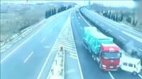 女司机一把方向直接把大货车赶下高速,监控拍摄司机愤怒10秒