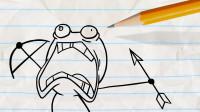 阿呆的手机突然没信号了,他想到了什么办法?铅笔画小人游戏