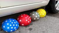 牛人使用小汽车碾压各种不同的气球,很有趣的减压游戏