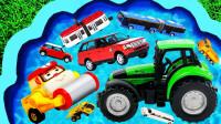 孩子们的早教启蒙玩具:警车、翻斗车、运输车、挖掘机、消防车、救护车、拖车!
