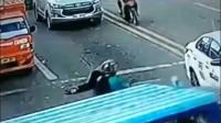 红衣男子是碰瓷还是自杀?要不是监控,大货车的清白谁来还