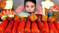 美女韩国大胃王,吃虾尾、腌萝卜,网友:吃的真过瘾!