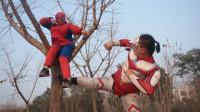 蜘蛛侠真人版:奥特曼破坏植物,没想蜘蛛侠从'树'而降,太逗了