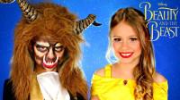 国外小姐姐仿妆美女与野兽,漂亮的小公主啊,你能与野兽跳支舞吗?