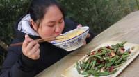 胖妹今天改吃素,做干煸四季豆,1把花椒1把辣,吃起来真过瘾