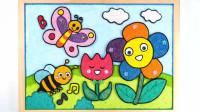 手工制作蜜蜂蝴蝶和花朵图像玩具