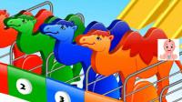 彩色骆驼滑滑梯进入数字格子里
