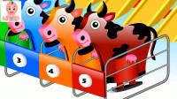 五颜六色的奶牛玩滑滑梯游戏