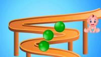 环形轨道里滑落的彩色小球
