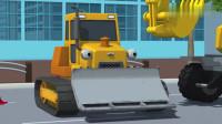 公交车太友之大家都嫌弃重型工程车身上的泥巴儿童动画片