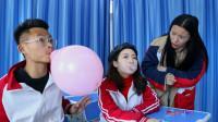 班级吹泡泡糖大赛,学霸挑战失败,不料学渣吹出巨型泡泡