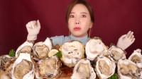 韩国美女吃超大牡蛎,一口一个大口秒吞,不料镜头一切露馅了