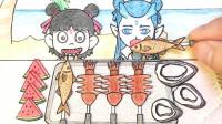 手绘定格动画:来一次海鲜烧烤,配几片西瓜,哪吒敖丙好开心