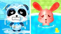奇奇的身上好脏啊,快给他们洗洗澡 宝宝巴士游戏
