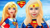 国外小女孩仿妆超人,拥有超能力的她,要去帮助别人了!
