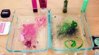 diy粉色和绿色的无硼砂史莱姆,混合化妆品、水晶泥、亮粉