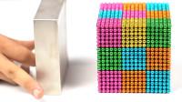 用10000个金属球制作立方体,用钕磁铁靠近,精彩一幕出现了