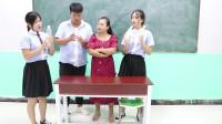 学霸王小九短剧:老师让学生把饮料瓶变废为宝,没想女同学做出一个装饰品,真厉害