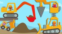 卡车和挖掘机展示过障碍物,各有各的用处!宝宝巴士游戏