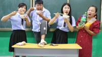 学生挑战果粒橙泡干吃面,没想被女同学吃的一口不剩,太逗了