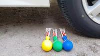 牛人使用小汽车碾压牙膏吹气球,实在是太减压了,看起来真过瘾!