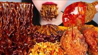 """美女极限挑战""""爆辣""""火鸡面+金针菇,辣的满嘴通红,吃得真爽!"""