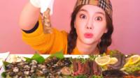 韩国大胃王小姐姐,试吃现切豪华海鲜,大口大口吃的太解馋了