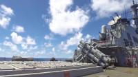 军事:美国海军驱逐舰DDG-54柯蒂斯.威尔伯号鱼叉导弹实弹发射