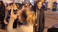 俄罗斯的街头,美女纵情热舞,观众掌声不断!