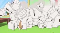 蜡笔小新:小新用盒子给小白盖别墅,最后太重把盒子压塌了!