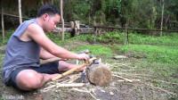 水稻哥 第94集  原始技术冶炼钢铁用铁制造锤子和农具刀