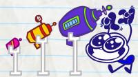 阿呆按了什么按钮?为什么三个小怪物那么害怕?铅笔画小人游戏