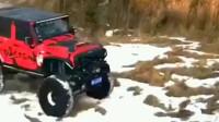 不结实的改装车,越野爬坡飞轮胎!