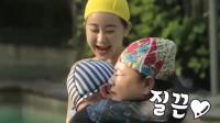 韩国综艺:陈华爸爸教游泳时动作太粗暴了,陈华妈妈怒了一把推开他