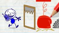 阿呆很生气 到底是谁在恶做剧?铅笔画小人游戏