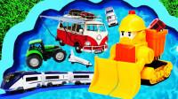儿童早教启蒙玩具乐园:坦克、警车、推土机、赛车、叉车、出租车、汽车!