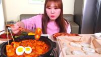 韩国大胃王小姐姐,试吃自制韩式美食,看她吃口水都流出来了