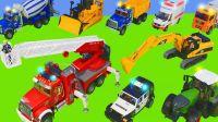 挖掘机拉运煤炭,消防车救援任务,卡车兄弟拉运木材,趣味儿童玩具