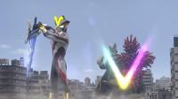 银河奥特曼变出三叉戟,直接朝两只怪兽扔去,电得它们无法动弹!