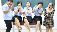 学霸王小九校园剧:老师让学生挑战吃洋葱,全班都难以下咽,没想女同学一口气吃一个