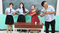 学霸王小九校园剧:学生挑战吹气球吊起杯子游戏,没想女同学全程无压力,太厉害了