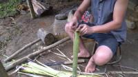 水稻哥 第97集 原始技能 独自野外生存 用植物纤维制作编织品