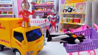 怪兽藏着给超市送货的货车睡大觉,迪迦出必杀技打败怪兽关起来