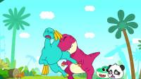 《宝宝巴士恐龙世界》镰刀龙的地盘 欺负孩子被霸王龙妈妈教训了