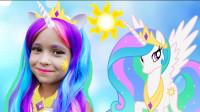 彩虹马宝莉仿妆,骑着白色马儿的小可爱,你会喜欢吗?