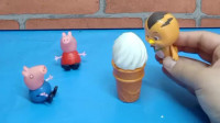 乔治要吃冰淇淋,佩齐说外面买的不干净要少吃,亲手给乔治做了一杯冰淇淋