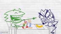 搞笑铅笔动画:食物大战!食堂阿姨不公平对待,让小笨蛋羡慕嫉妒恨